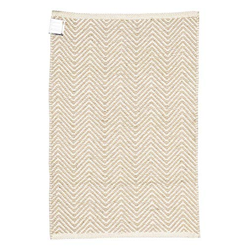 Braided Chevron Area Rug - Indian Jute Burlap Entryway Rugs Country Rustic Farmhouse Decor - Natural Bleached - 4x6 Feet ()