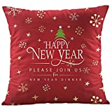 MIARHB Throw Pillow Covers Christmas Decorative Pillow Case Cushion Cover Zipper Square Christmas Reindeer Pillowcovers(C, 18'' x 18'')