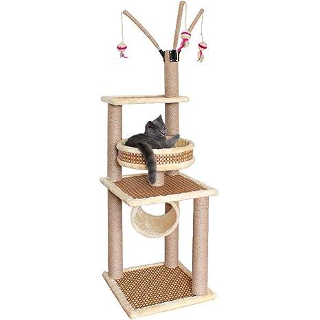Axiba Árbol para Gatos,Estante de gato escalada cuatro estaciones rota ante estera reversible gato escalada ...