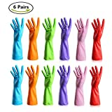 Rubber Gloves Latex Kitchen Cleaning Gloves Household Waterproof Dishwashing Reusable (3 Pairs Medium & 3 Pairs Large)