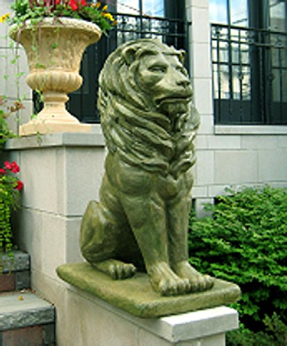 (Pack of 2 Regal Sitting Lion Cast Stone Concrete Moss Finish Outdoor Garden Statues)