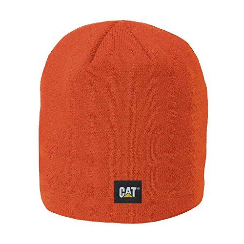 Caterpillar Men's Logo Knit Cap, Adobe Orange, One (Orange Logo Beanie)