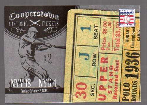 - 2013 Panini Cooperstown Historic Tickets #11 1936 World Series -