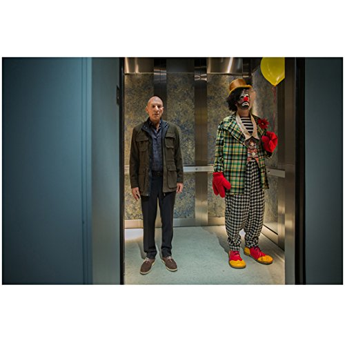 (Patrick Stewart 8 inch x 10 inch PHOTOGRAPH Blunt Talk (TV Series 2015 - ) on Elevator w/Clown)