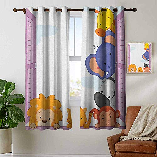 (Decor Curtains by Zoo,Cute Colorful Animals Peeping at Pink Window Cartoon Frame Cat Monkey Lion Elephant, Multicolor,Wide Blackout Curtains, Keep Warm Draperies,1 Pair 42