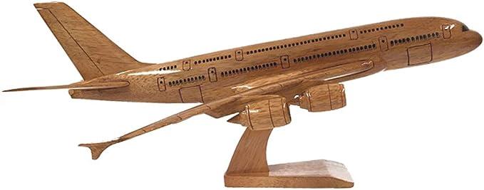 Airbus A380 Civilian Aircraft Wooden Desktop Model.