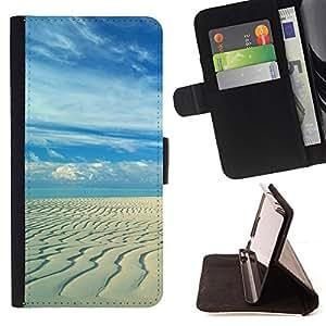 - Sandy beach - - Prima caja de la PU billetera de cuero con ranuras para tarjetas, efectivo desmontable correa para l Funny HouseFOR HTC Desire 820