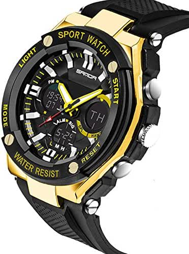 Kids Watch Led Light Calendar Black Rubber Strap Large Dial Waterproof Sport Watch Swimming Black+Gold