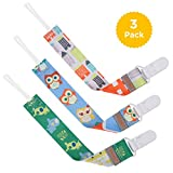 GAGAKU 3 Pack Pacifier Clip Holder for Girls and Boys Teeth Ring Toy Leash, Double-side Print Modern Design