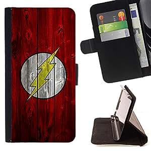 - Lightning Bolt Superhero - - Prima caja de la PU billetera de cuero con ranuras para tarjetas, efectivo desmontable correa para l Funny HouseFOR Samsung Galaxy S5 Mini, SM-G800