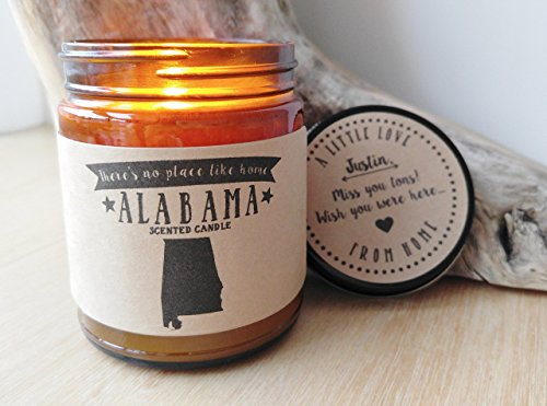 Alabama Scented Candle Missing Home Homesick Gift Moving Gift New Home Gift No Place Like Home State Candle Miss You Valentines Day Gift