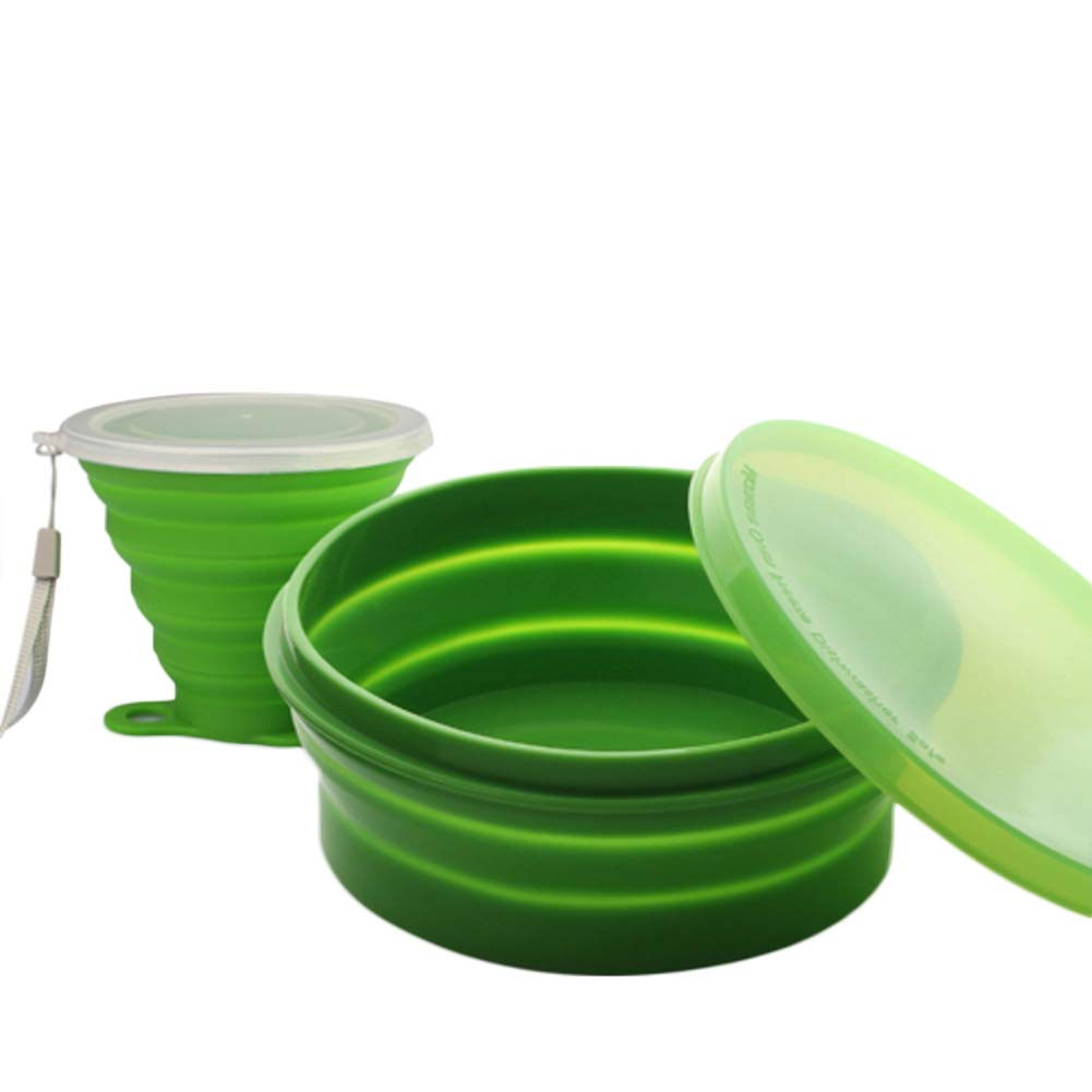 KnvcDey Silicone Collapsible Bowl,Camping Hiking Portable Travel Food Storage containers Lunch bento Box bpa Free Space-Saving-D 800+270ml by KnvcDey