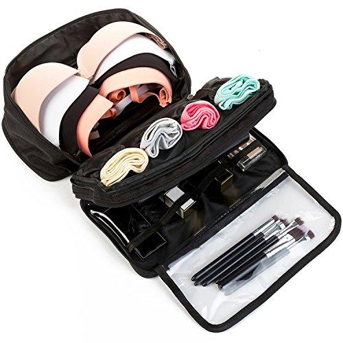 MODARANI Portable Bra Underwear Organizer Travel Toiletry Bag Makeup Organizer Case Black by MODARANI (Image #3)