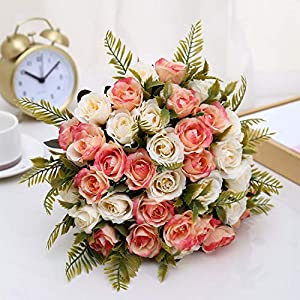 Aurdo Artificial Flowers, Fake Silk Vintage Rose Flowers Bouquet for Room, Kitchen, Garden, Wedding, Party Decor (2 Pack) … 5