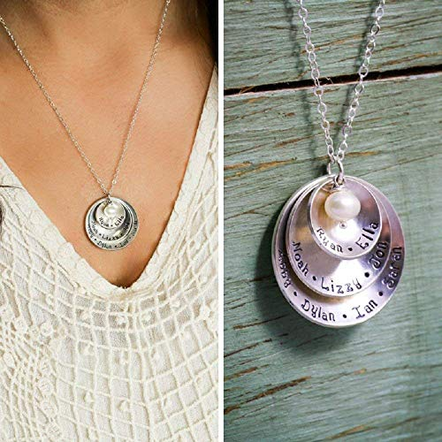 (Personalized Mommy Necklace - ROI - Sterling Silver Grandma Mother Gift Large Family Grandchildren - 1 1/8 7/8 5/8 Inch Discs - Fast 1 Day Production)