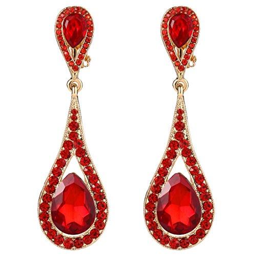 (EVER FAITH Women's Austrian Crystal Dual Tear Drop Clip-on Dangle Earrings Red Gold-Tone)