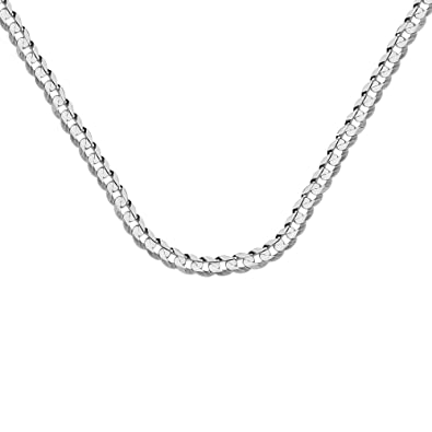 14k White Gold .80mm Sparkle-Cut Cable Chain Necklace 26 Inch