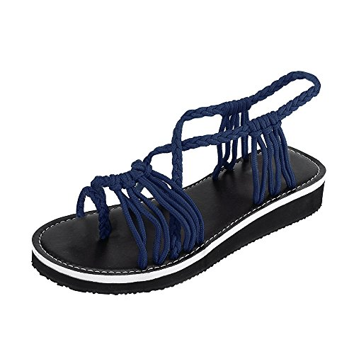 MILIMIEYIK Slippers, Women's Ankle Strap Low Wedge Sandals,Women's Open Toes Gladiator Sandals Ankle Strap Thong Shoes Dark Blue ()