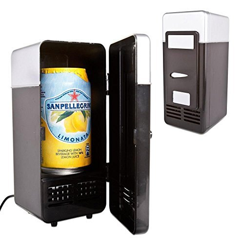 Neon® New Mini Black USB Fridge Cooler Beverage Drink Cans Cooler/Warmer Refrigerator for Laptop PC Computer (Black)