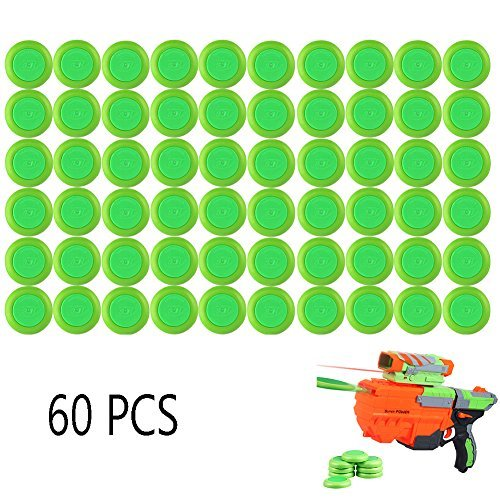 6MILES 60 PCS Safety EVA Foam Soft Refill Discs Bullet Darts Equipment Set for Nerf Vortex Blaster Praxis Nitron Vigilon Proton Ammo Toy Gun Parts Play Game (Green) -