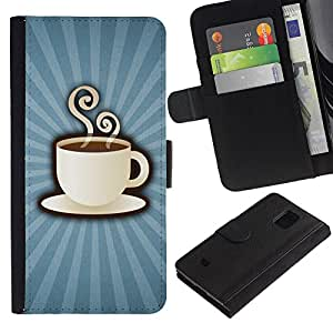 KLONGSHOP / Tirón de la caja Cartera de cuero con ranuras para tarjetas - Coffee Cup Mug Steaming Drink Caffeine Art - Samsung Galaxy S5 Mini, SM-G800, NOT S5 REGULAR!