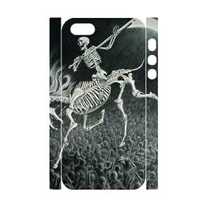 3D [Cool Skeleton] skeleton horse Case For Iphone 5/5S Cover {White}