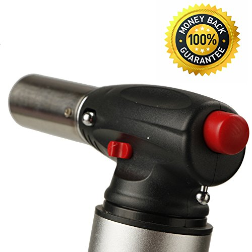 Heavy Duty Micro Blow Torch Flame Forte-Torch for Soldering- Plumbing- Big Refillable Butane Torch- Jewelry-Torch for Home and Kitchen-Adjustable Flame-Security Lock (Gray) by Inter Forte (Image #2)