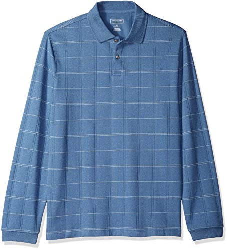 Van Heusen Men's Flex Long Sleeve Jaspe Windowpane Polo Shirt, Blue Horizon Plaid, X-Large ()