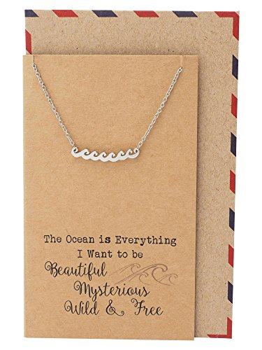 Quan Jewelry Ocean Waves Beach Necklace, Gifts for Surfer, Beach Lover Wanderlust Traveler Pendant Charm, Comes with Handmade Inspirational Quote, Gifts for Beach Goer, Silver ()