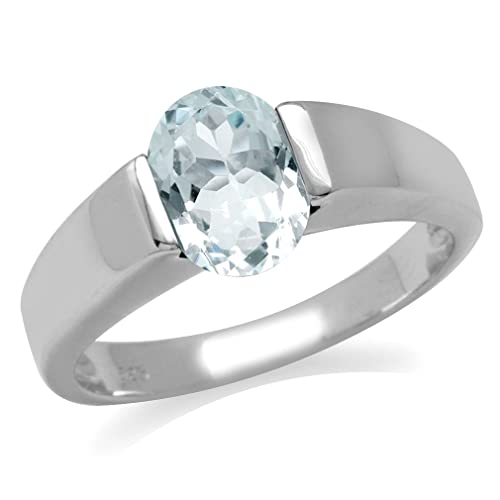 Silvershake 1.54ct. 9X7mm Genuine Oval Shape Blue Aquamarine 925 Sterling Silver Solitaire Ring