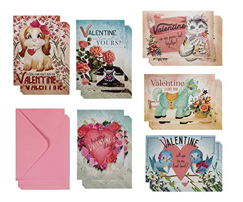 36- Pack Valentine Cards- Happy Valentine's Day Greeting Cards, Vintage Valentines, 6 Vintage Floral designs with pink envelopes, 4 x 6 inch note cards with envelopes