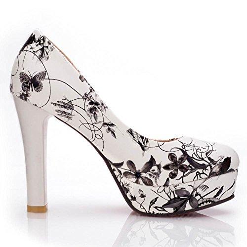Gris Floral Hauts Chaussures Femme Eleemee À Talons Mode P0BnwEq