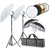 """Neewer® Double Flash Shoe Mount Swivel Umbrella Kit with 43""""/110cm 5 in 1 Reflector for Canon 430EX II,580EX II,600EX-RT,Nikon SB600 SB800 SB900,Yongnuo YN 560,YN 565,Neewer TT680,TT850,TT860"""