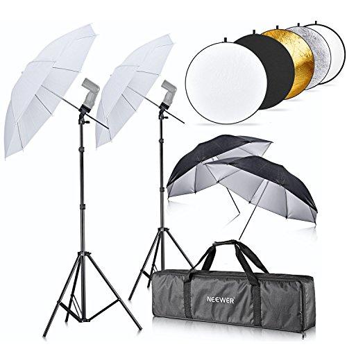 Neewer¨ Double Flash Shoe Mount Swivel Umbrella Kit with 43