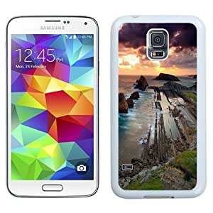 NEW Unique Custom Designed Samsung Galaxy S5 I9600 G900a G900v G900p G900t G900w Phone Case With Old Stones Waterfront Barrage Sunset_White Phone Case