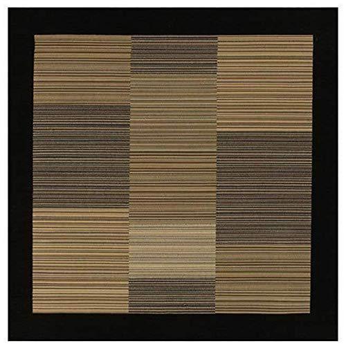 - Couristan 0766/0601 Everest Hamptons/Multi Stripe-Black 7-Feet 10-Inch Square Rug