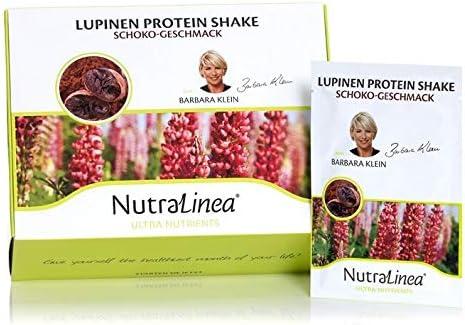 NutraLinea Lupinen Protein Eiweiß Shake mit Macawurzel Extrakt und Inulin kalorienarm vegetarisch 20 Päckchen á 18g in den Geschmacksrichtungen Vanille, Lemon und Schoko (Schoko)