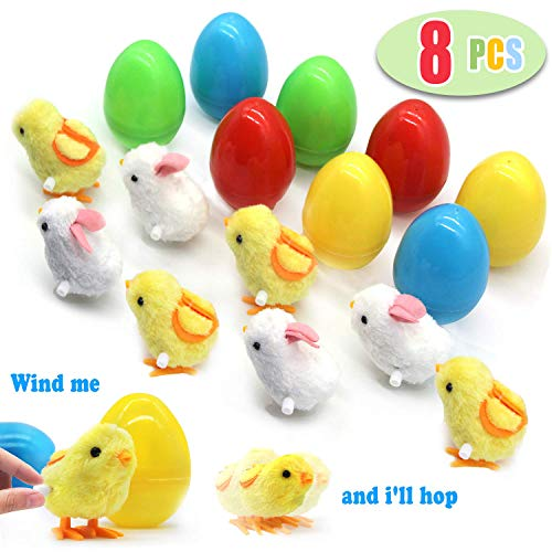 Highland Farms Select Large Toy Filled Easter Eggs Filled with Wind-Up Rabbits & Chicks - Party Favor Gag Toy Jumping Chicken & Bunnies - Pack of 8