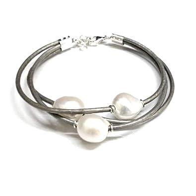 1283a141f4c9 Pulsera de Perlas Cultivadas Barrocas Blancas con Cuero Natural Gris y  Plata de Ley  Amazon.es  Joyería