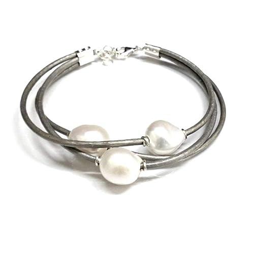2821c5e74fdd Pulsera de Perlas Cultivadas Barrocas Blancas con Cuero Natural Gris ...