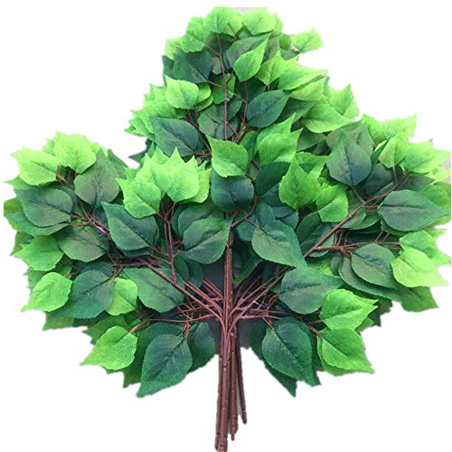 jiumengya 12pcs Birch Leaf Stems Artificial Greenery Plant Maple Tree Stem Branch Five Colors for Greenery Wall Decoration (Green) ()