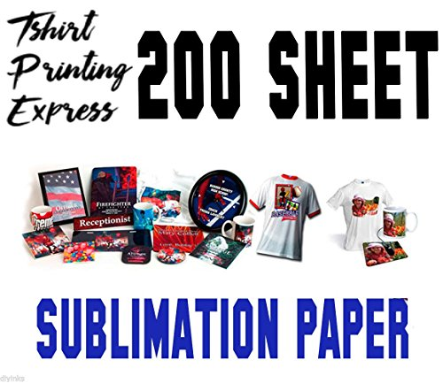 5 x 11 Dye Sub Paper Light Fabrics - Heat Transfer Paper - Papel Transfer de Sublimación (200 SHEETS) (Dye Sub Inks)