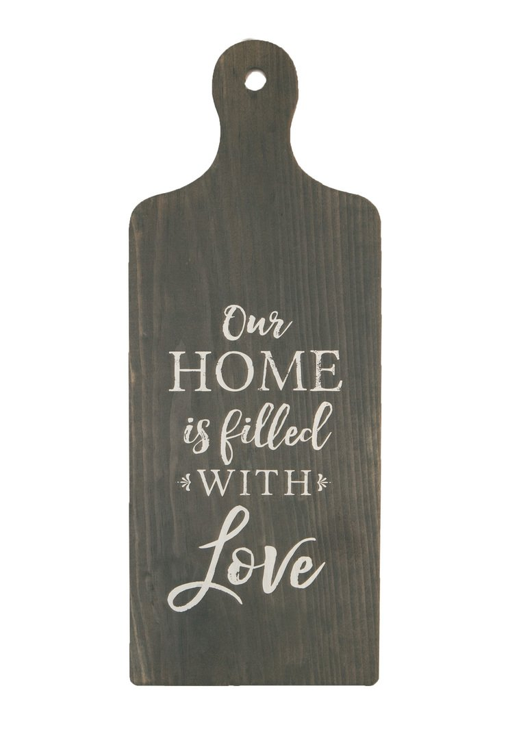 P Graham Dunn Our Home Filled with Love Grey 7.5 x 19 Wood Decorative Bread Board Wall Plaque