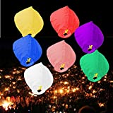 Plixio 20 Pack Flying Chinese Paper Sky Lanterns with Candle for Parties, Memorials & Weddings- Wishing Lamps in Assorted Colors