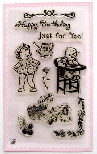 Laughing Baby Girl / Vintage Clear Stamps (Baby Girl Clear Stamps)