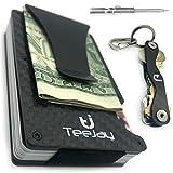 TeeJay Carbon Fiber Minimalist Wallet & Key Organizer Set. Premium Gift Box includes RFID Blocking Front Pocket Wallet And Modern Design Slim Pocket Keychain For Men and Women