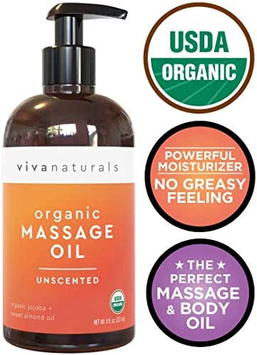 Certified Organic Massage Oil, Unscented, Perfect for Couples Massage and Stiff Muscle Relief, Works Great as a Sensual Body Oil (8 fl. oz.)