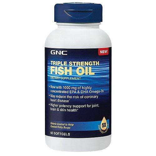 GNC Triple Strength Fish Oil Dietary Supplememt, 1000mg, 60 softgels - Gnc Triple Strength Fish Oil