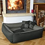 BedDog MAX QUATTRO 2in1 anthracite/grey XL, 100x85 cm(39x33 inch) Bed for a dog L till XXXL, 6 colours to choose, pillow for a dog, sofa for a dog, basket for a dog