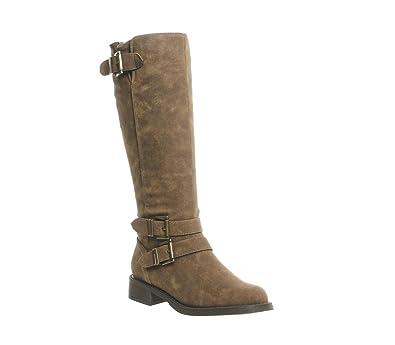 5451c46545 Office Kiddo Buckle Biker Boot Brown Fur Lined - 4 UK  Amazon.co.uk ...